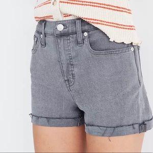 Madewell High Rise Grey Denim Crowley Wash Shorts